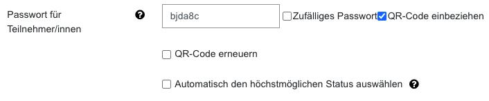 Screenshot Einstellungen für Passwort und QR-Code