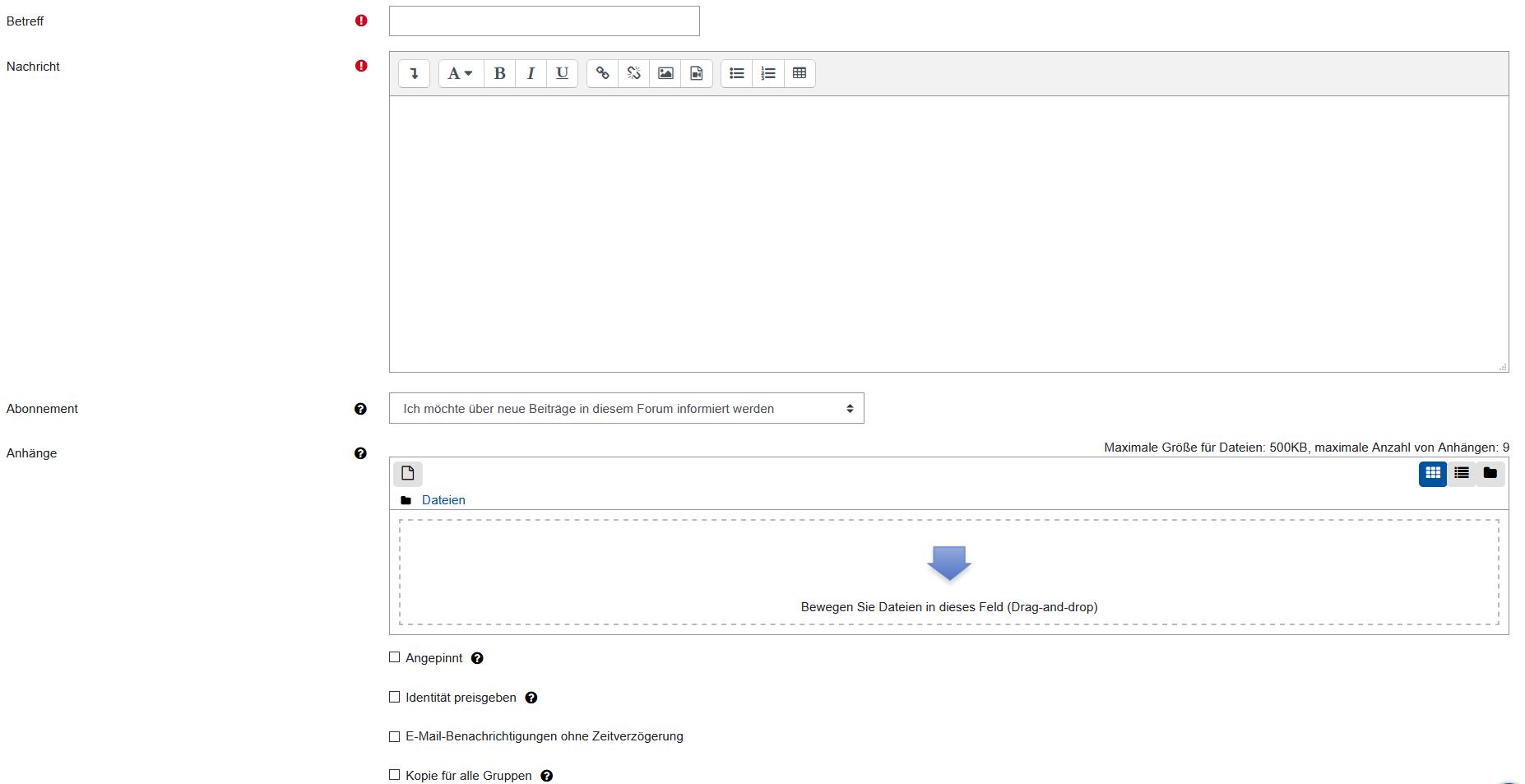 Screenshot Editor bei erweiterten Optionen