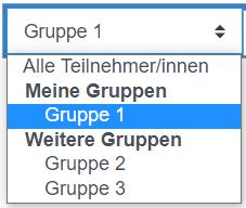 Screenshot Dropdownliste für Gruppenwahl