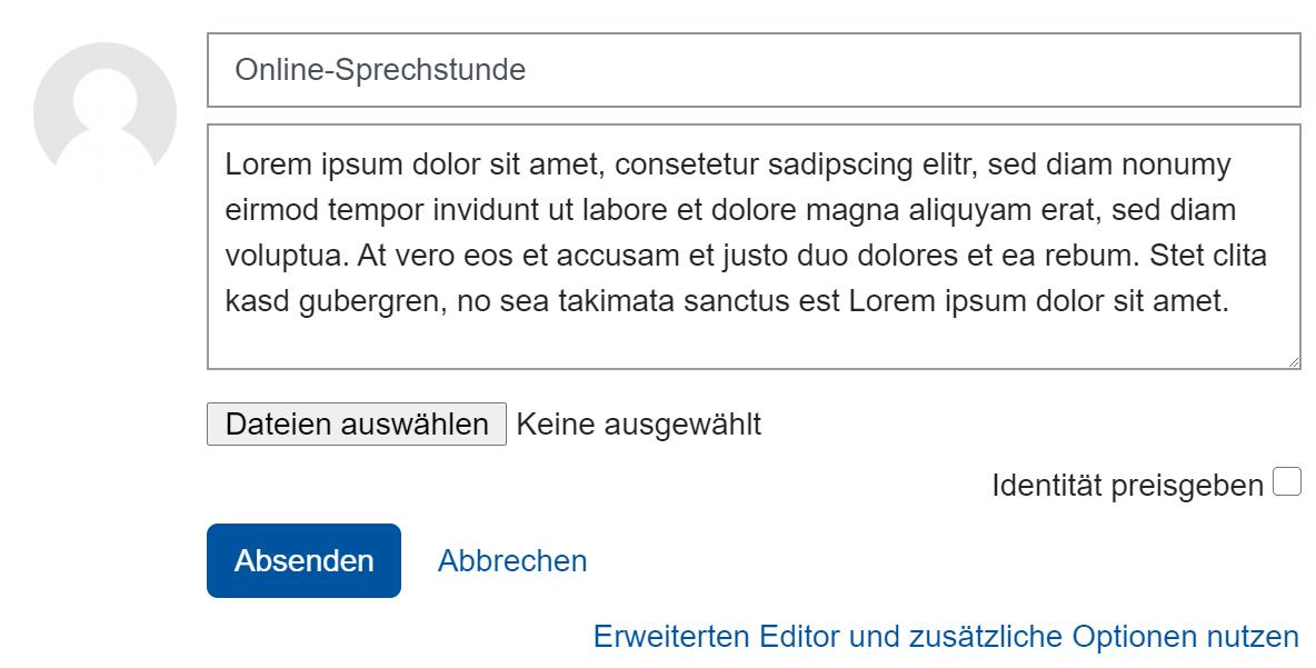 Screenshot Beitrag mit Antwortoption und Preisgabe der Identität