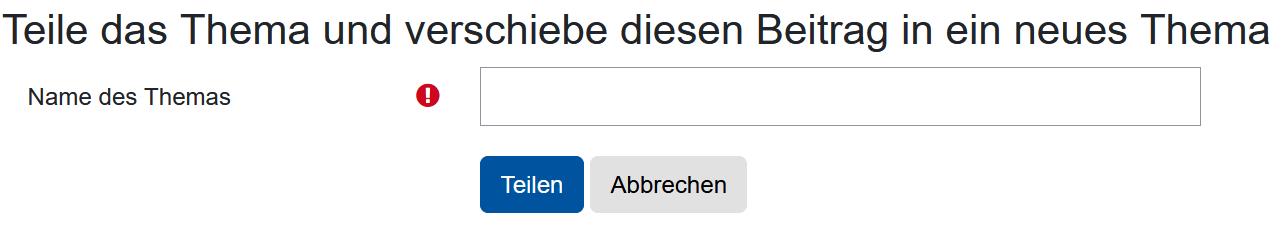 Screenshot Option zum Teilen eines Themas